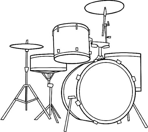 Musical Instruments, : Awesome Musical Instruments Drum Set Coloring Pages
