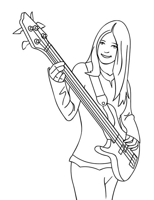 Band Player Playing Musical Instruments Bass Coloring Pages | Bulk Color
