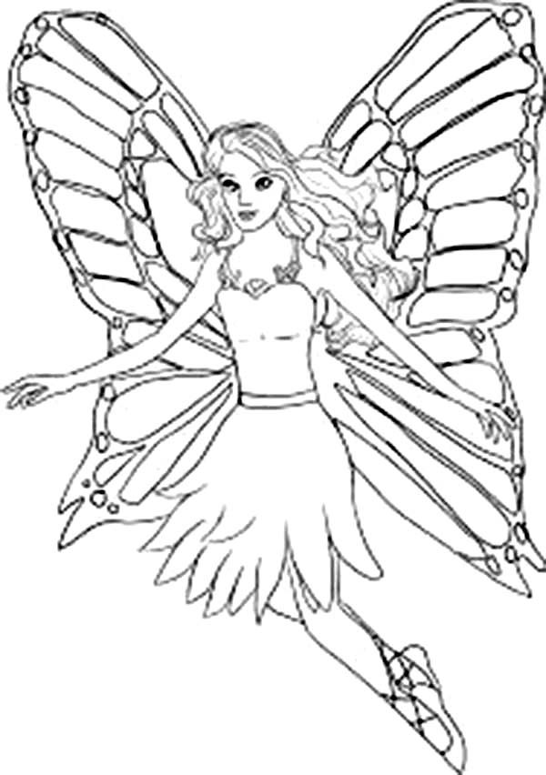 Barbie Mariposa, : Barbie Mariposa Beautiful Wings Coloring Pages