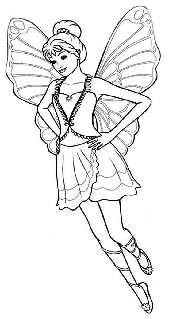 Barbie Mariposa, : Barbie Mariposa Coloring Pages for Kids