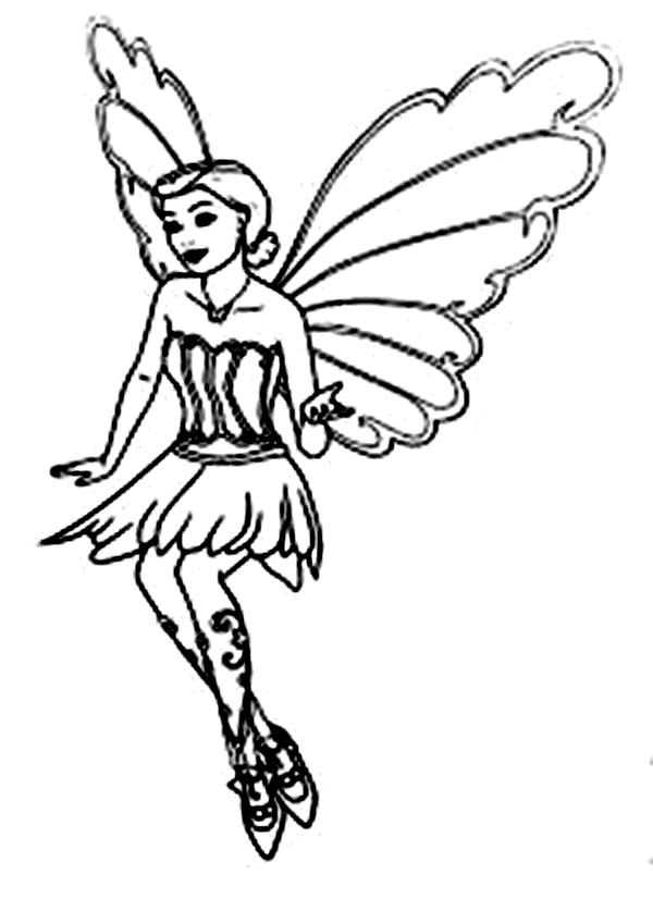 Barbie Mariposa, : Barbie Mariposa Flying Coloring Pages