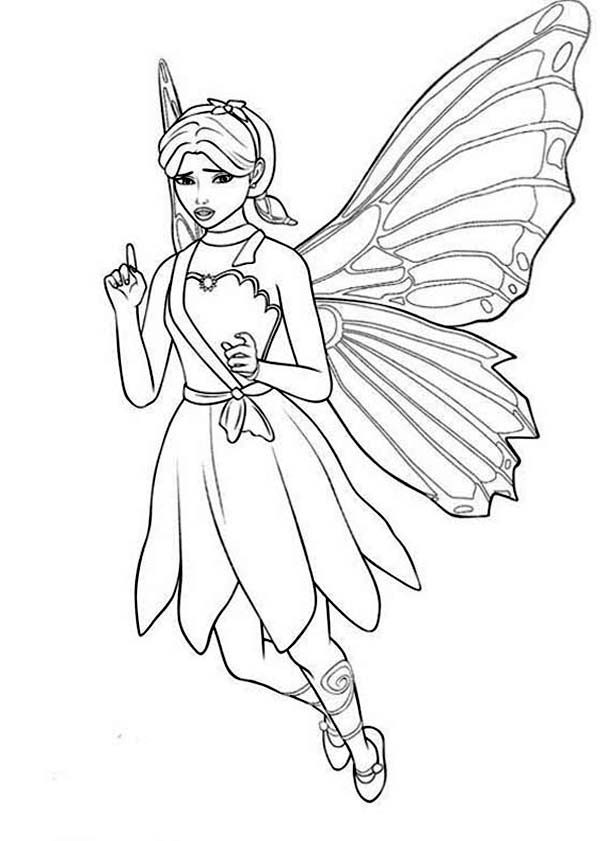 Barbie Mariposa, : Barbie Mariposa Look Confuse Coloring Pages