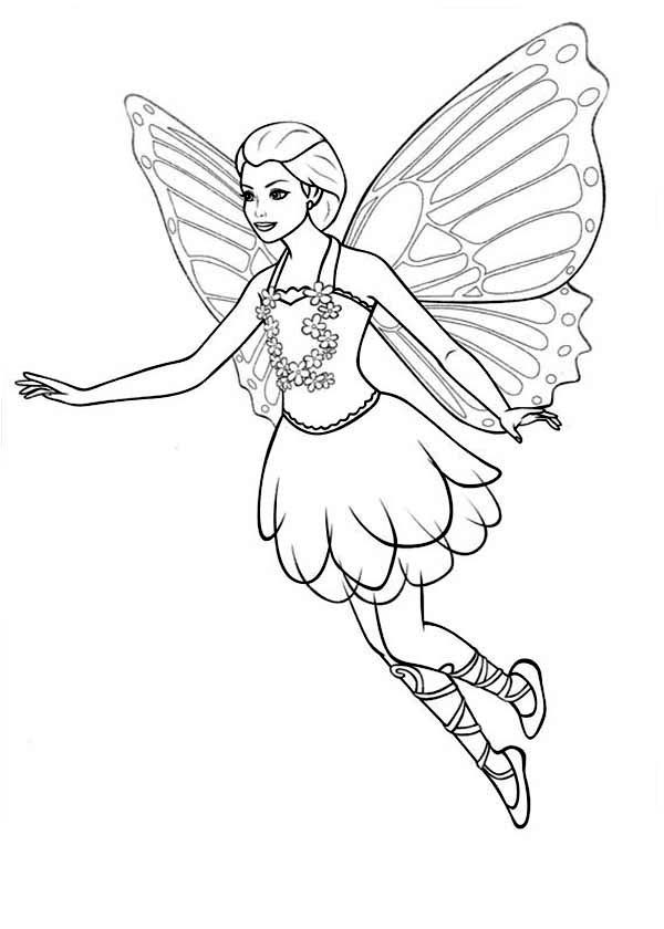Barbie Mariposa Looking For Her Friends Coloring Pages
