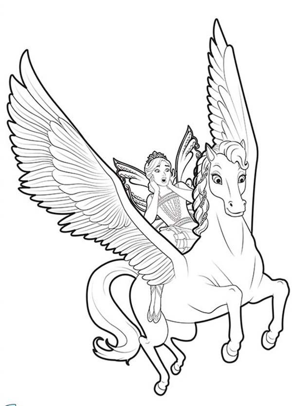 Barbie Mariposa, : Barbie Mariposa Ride on Flutterfield Unicorn Coloring Pages
