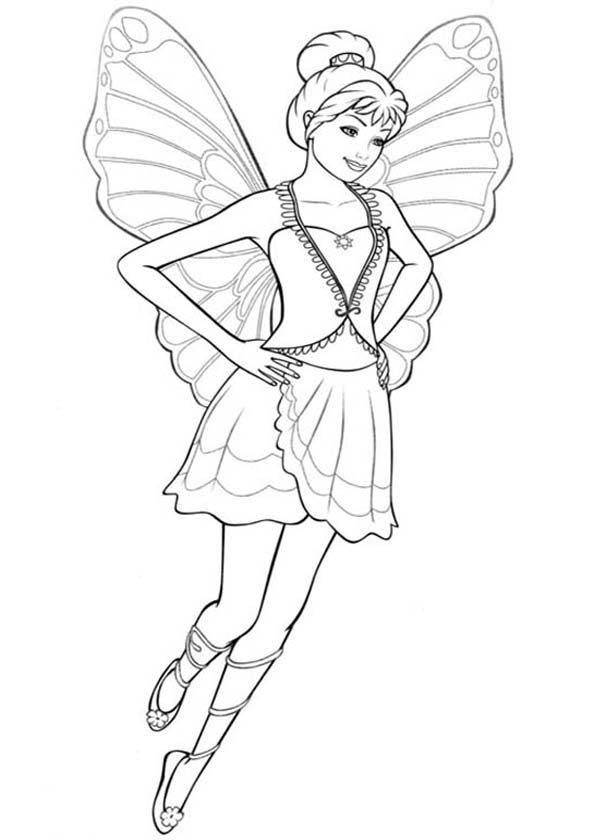 Barbie Mariposa Try Her New Dress Coloring Pages