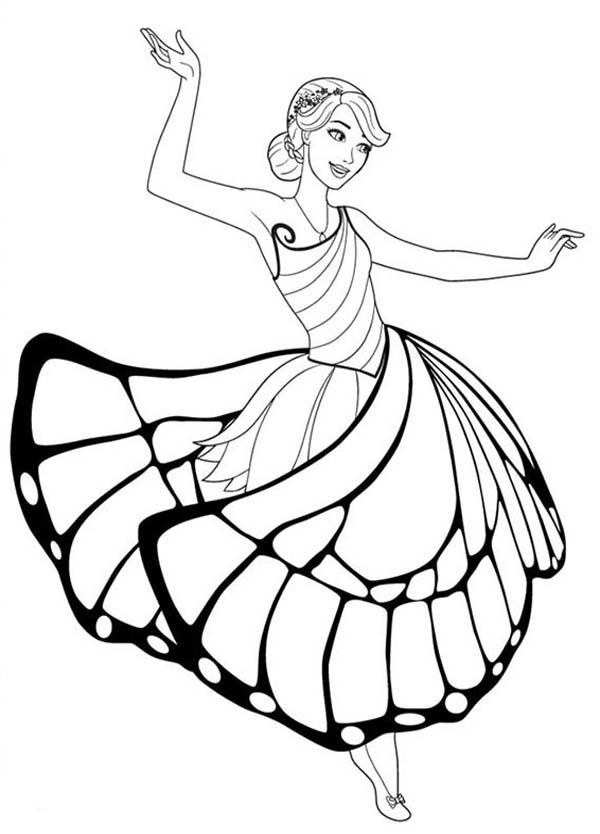 Barbie Mariposa, : Barbie Mariposa Use Her Wing as Skirt Coloring Pages