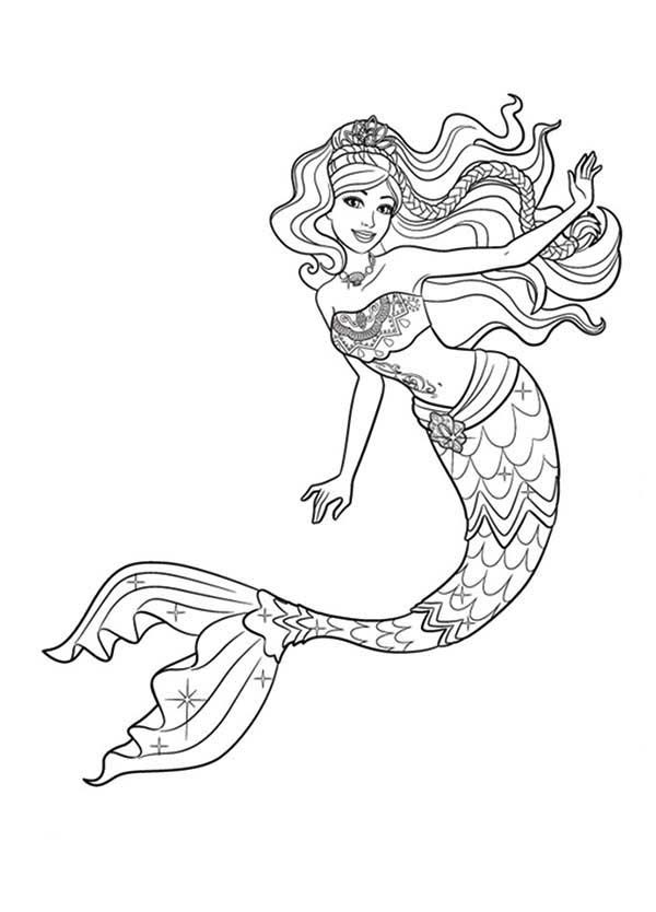 Mermaid, : Barbie Mermaid Tale Coloring Pages