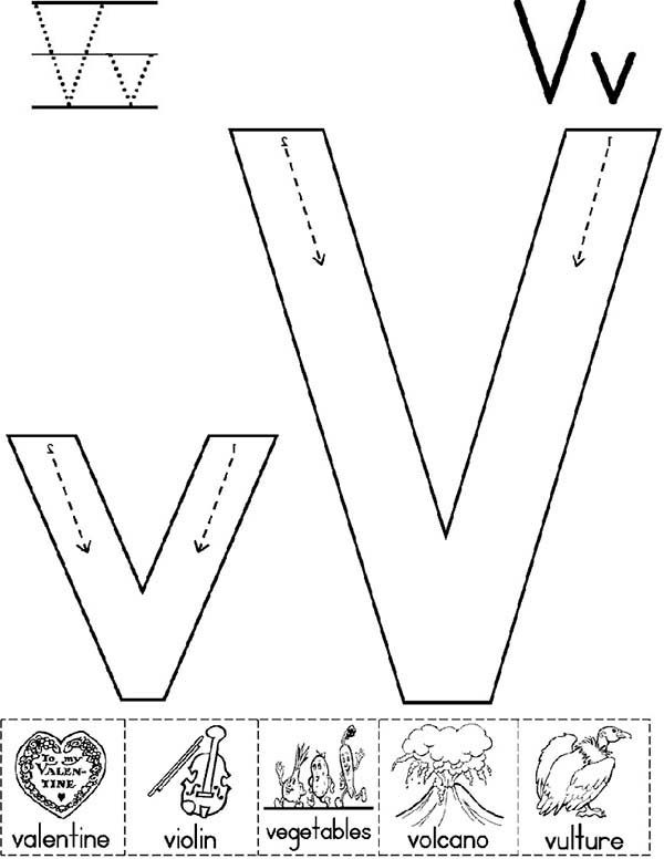 Letter V, : Big Case and Small Case of Letter V Coloring Page