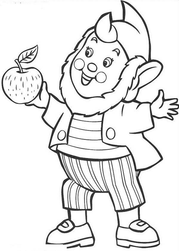 Big Ear Want To Give Noddy Delicious Apple Coloring Pages