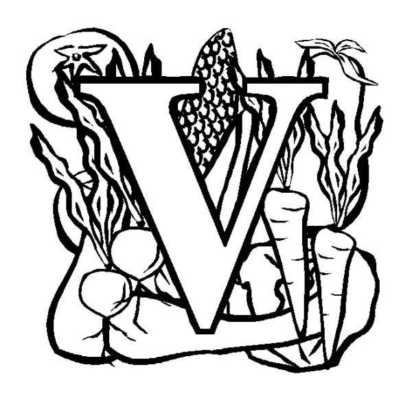Letter V, : Big Letter V for Vegetables Coloring Page