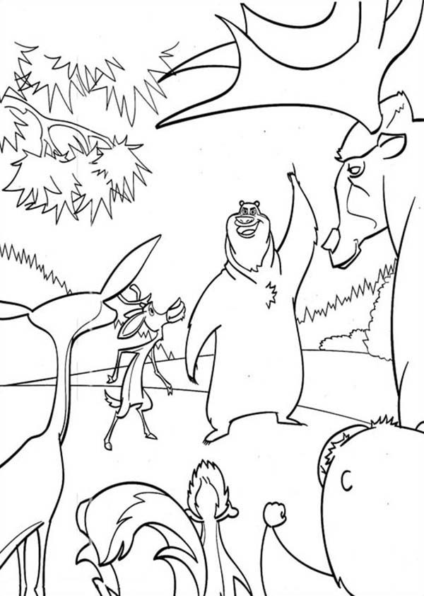 Oliver and Company, : Boog and Elliot Say Goodbye to Other Animals in Open Season Coloring Pages