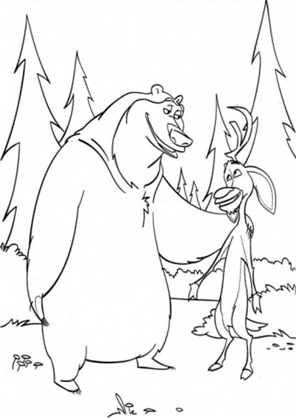 Oliver and Company, : Boog and Elliot are Best Friend in Open Season Coloring Pages