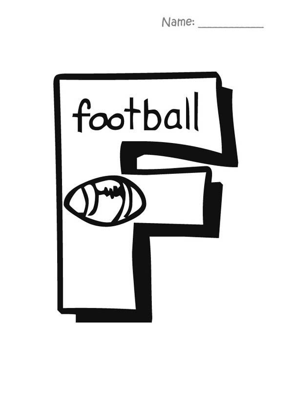 Letter F, : Capital Letter F for Football Coloring Page