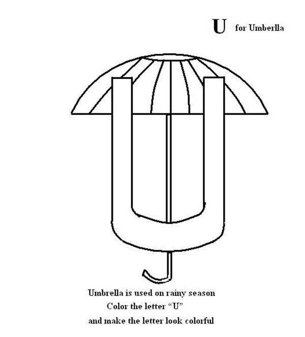 Letter U, : Coloring Page for Letter U