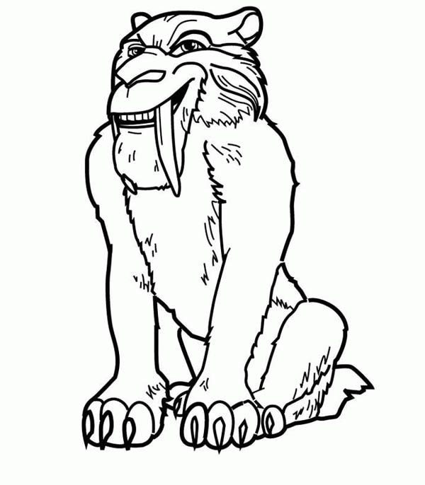 Diego The Saber Tooth Tiger In Ice Age Coloring Pages