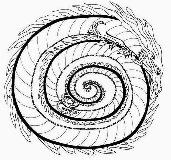 Mandala Animal, : Dragon Fire Mandala Animal Coloring Pages