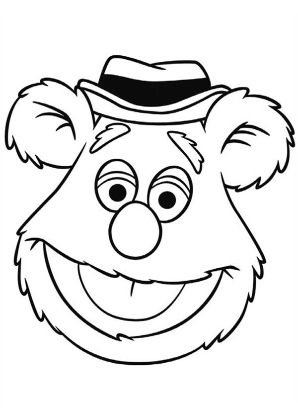 Muppet show free colouring pages for Bear head coloring page