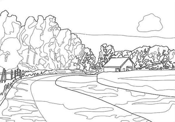 drawing landscapes coloring pages - Landscape Coloring Pages