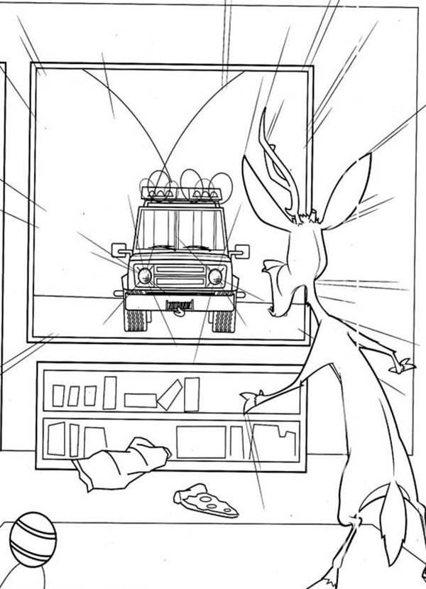 Oliver and Company, : Elliot Watching TV in Open Season Coloring Pages