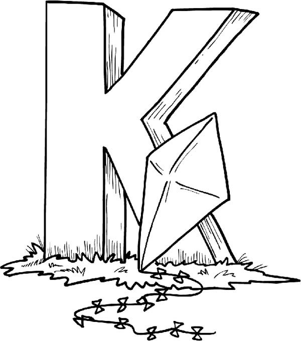 Letter K, : Finding Letter K with Kite Coloring Page