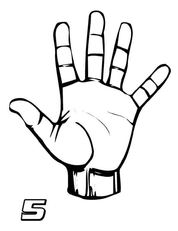 Number 5, : Finger Number 5 Coloring Page