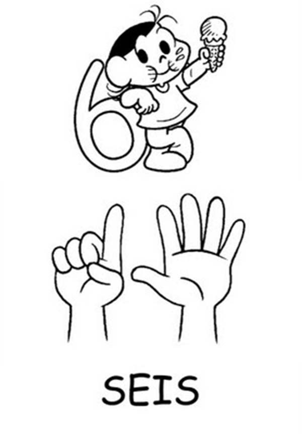 Number 6, : Finger Number 6 Coloring Page