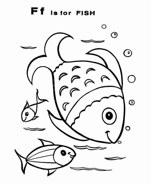 Letter F, : Fish for Alphabet Letter F Coloring Page