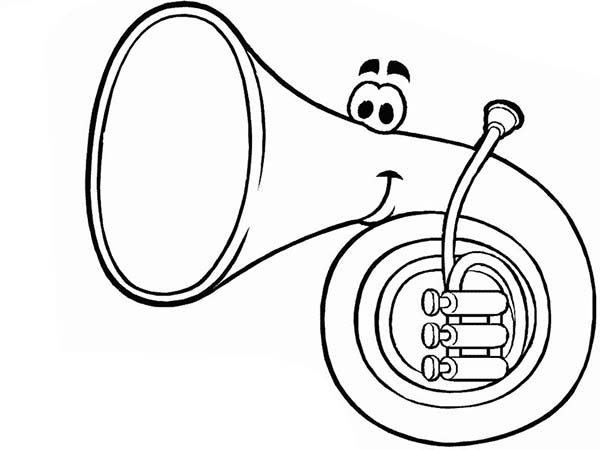 Musical Instruments, : Frenchhorn Cute Face in Musical Instruments Coloring Pages