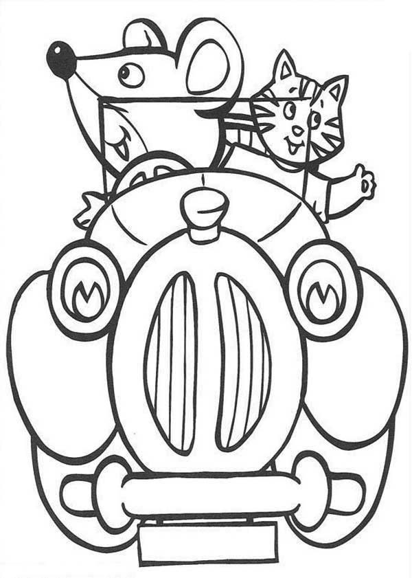 Noddy, : Friends of Noddy Ride His Car Coloring Pages