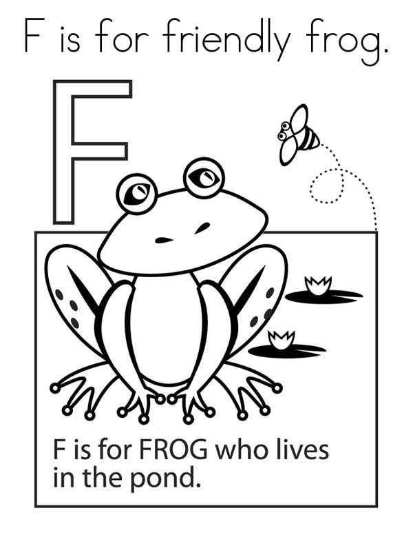 Letter F, : Frog for Alphabet Letter F Coloring Page