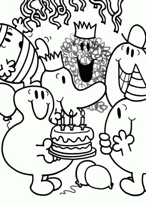 Mr Men and Little Miss, : Happy Birthday Mr Men and Little Miss Coloring Pages