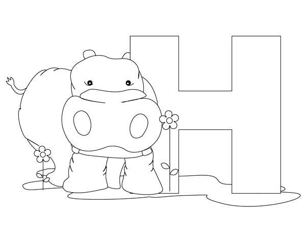 hippo animal alphabet letter h coloring page