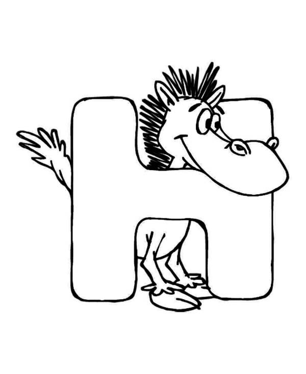Letter H, : Horse for Learning Letter H Coloring Page