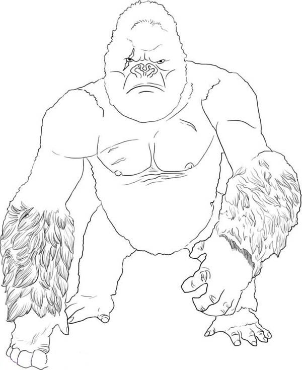 King Kong, : How to Draw King Kong Coloring Pages