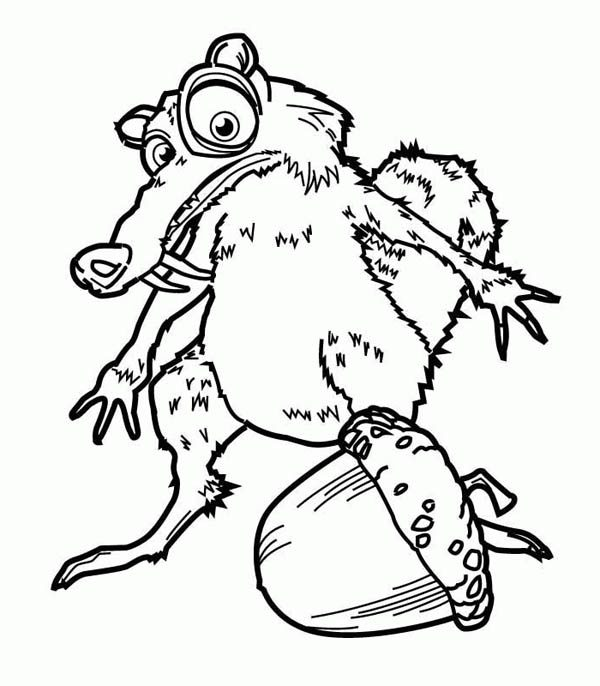 How to Draw Scrat and His Pine Fruit in Ice Age Coloring Pages ...