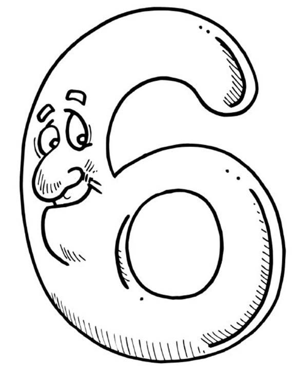 Number 6, : I am Number 6 Coloring Page