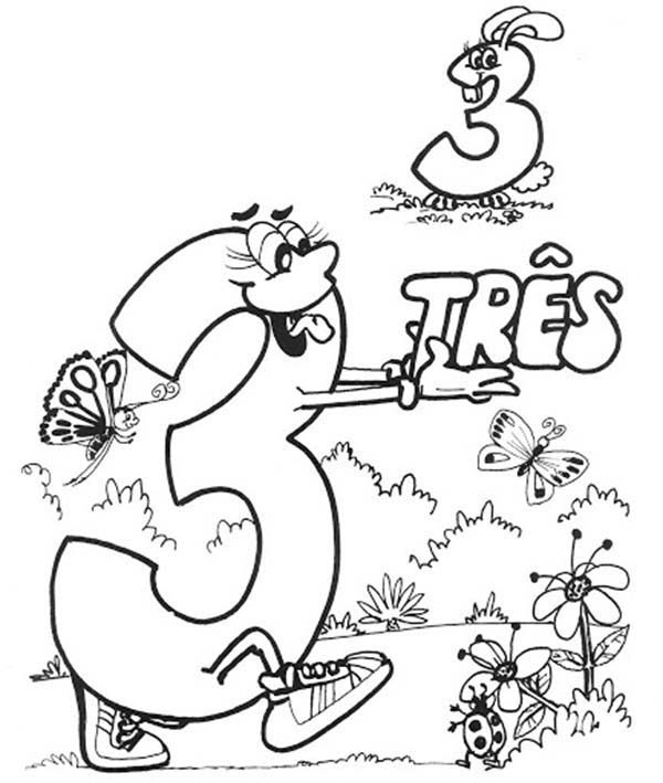Number 3, : Introducing Number 3 Coloring Page
