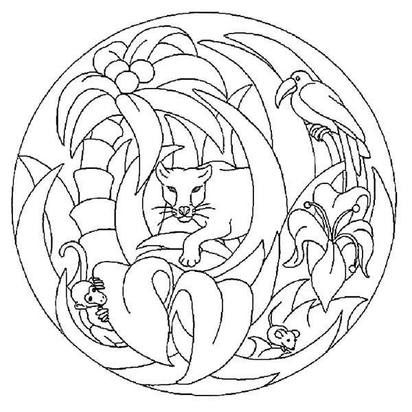Mandala Animal, : Jungle Animals Mandala Animal Coloring Pages