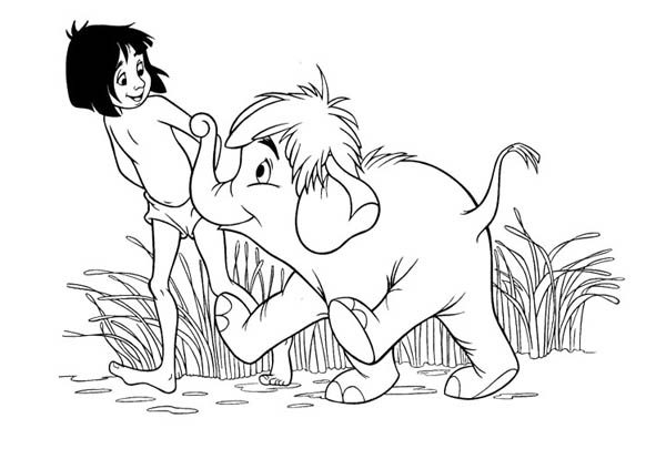 jungle book mowgli and hathi walking around coloring pages