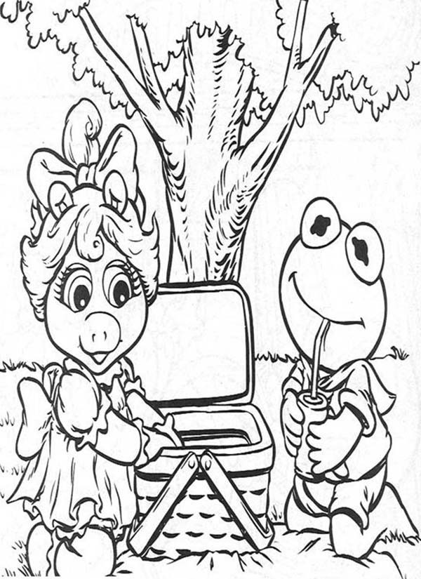 Muppet Babies, : Kermit Going Picnic with Miss Piggy Muppet Babies Coloring Pages