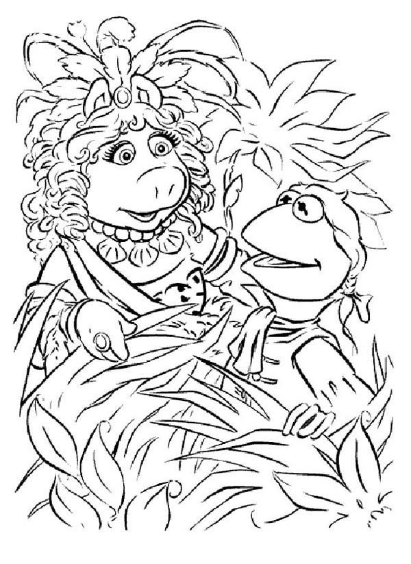 The Muppets, : Kermit and Miss Piggy Hiding Behind Plant in The Muppets Coloring Pages