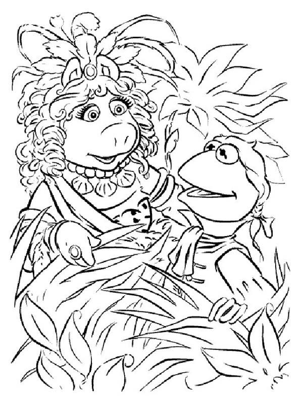 kermit and miss piggy hiding behind plant in the muppets coloring
