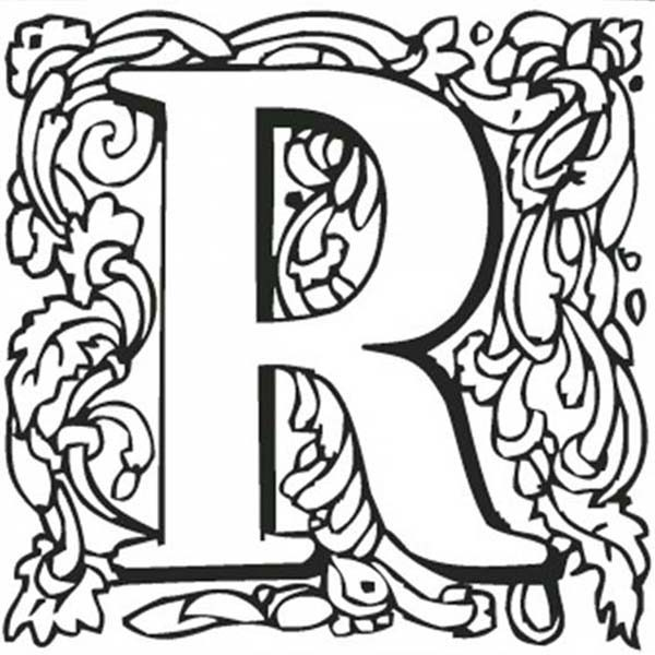 Letter R, : Kids Learn Capital Letter R Coloring Page