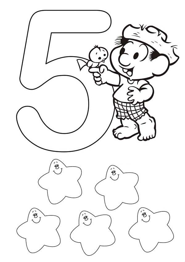 Number 5, : Kids Learn Learn Number 5 Coloring Page
