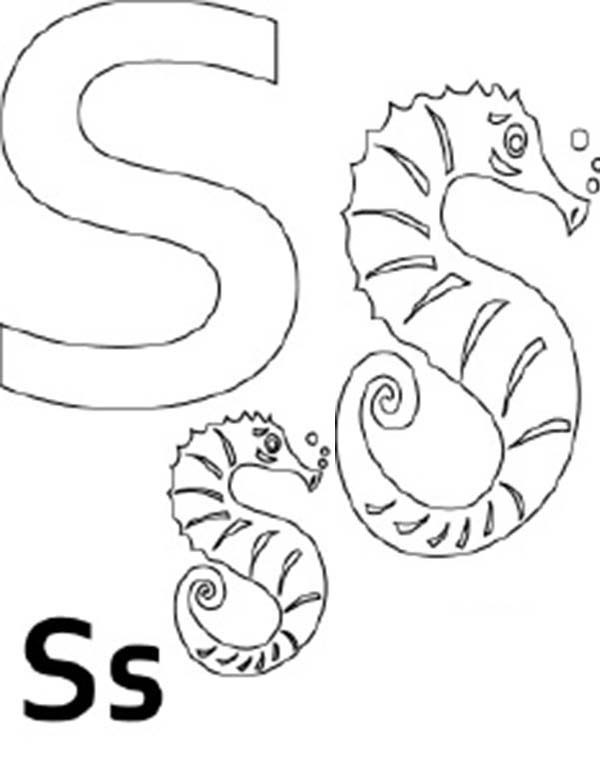 Letter S, : Kids Learn Letter S Coloring Page