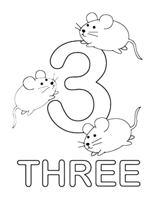 Kids Learn Number 3 Coloring Page Bulk Color