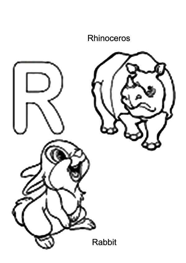 Letter R, : Kids Learn Rabbit and Rhino is for Letter R Coloring Page