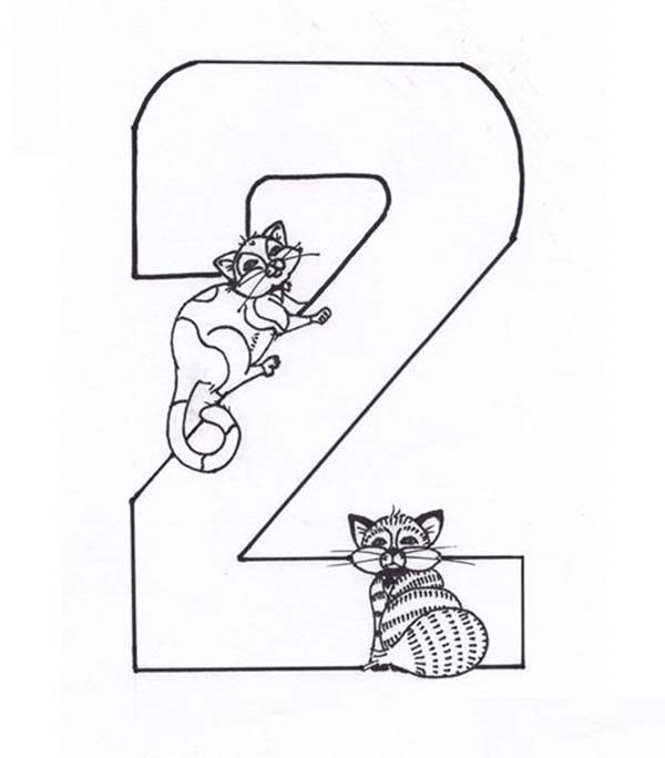 Number 2, : Kids Learning Number 2 Coloring Page