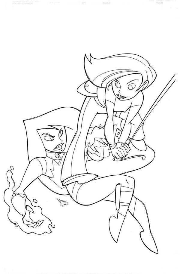 Kim Possible, : Kim Possible Defeat Shego Coloring Pages