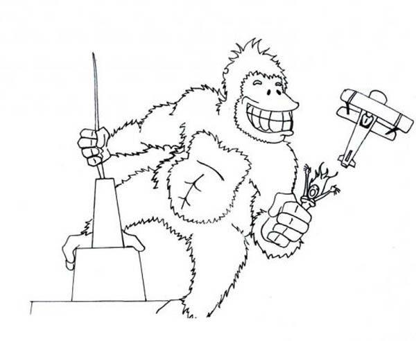 King Kong, : King Kong Big Grin Coloring Pages